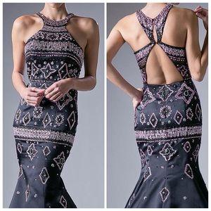 Black Satin Embellished Formal Dress